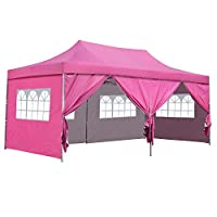 Outdoor Basic 10x20 Ft Pop up Canopy Party Wedding Gazebo Tent Shelter with Removable Side Walls (Pink 6 Walls)