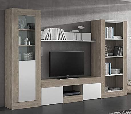 Miroytengo Pack Muebles salón Karla 2 Comedor diseño Moderno (Mesa TV +  Vitrina Alta + Librería + Estante)