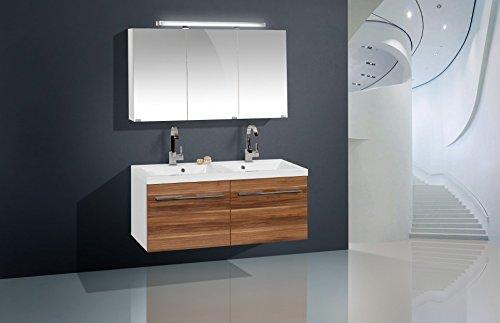 Design Badmöbel Set mit Doppelwaschtisch 120 cm und Spiegelschrank ... | {Badmöbel doppelwaschtisch günstig 72}