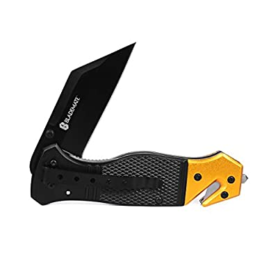 "BladeMate Survival Knives: Tactical Folding Rescue Pocket Knife with 3.5"" Stainless Steel Tanto Blade, Seat Belt Cutter, and Glass Breaker"