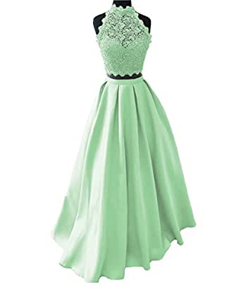 XingMeng High Neck Two Piece Lace Top Prom Homecoming Wedding Party Dresses Mint US 18W