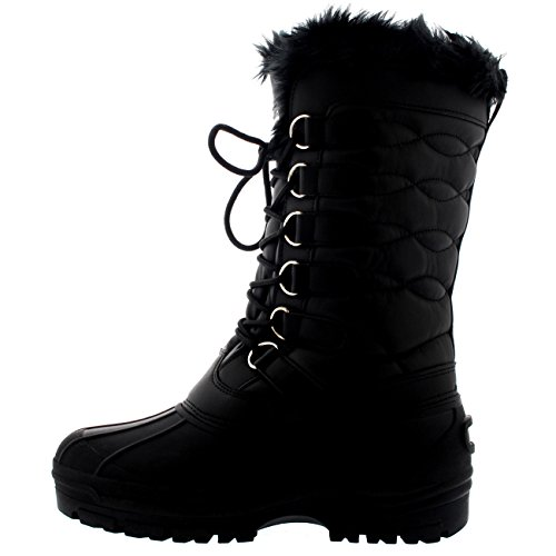 Polar Nylon Cuff Black Leather Boot Duck Weather Outdoor Winter Womens Snow Waterproof Rain Lace ff751Orwqz