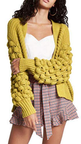 My Mix Trendz Women's Ladies Open Front Bobble Bubbles Sleeve Chunky Knitted Sweater Cardigan 8-14