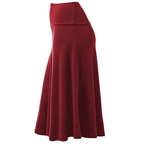 Plisse Taille Femmes Midi Flare Haute Hem Sexy Uniforme Solid Jupe Plus Jupe ESAILQ Rouge Size Vin 047gqq
