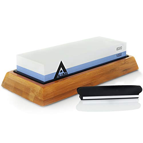 Aluma Knife Sharpening Stone - Professional Corundum Whetstone 1000/6000 Grit Kit Set with Non-Slip Bamboo Base Holder and Angle Guide - Sharpens Kitchen Cutlery, Combat, Hunting, and Pocket Knives