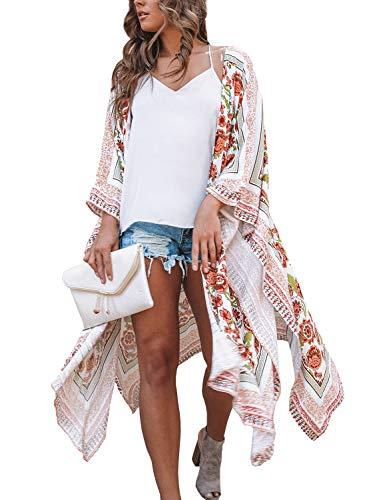 Kimonos for Women Boho Style Open Front Beach Cover-Ups Chiffon Jacket Resort Wear Beach Wear (Medium)
