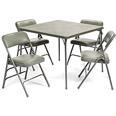 5 Piece Extra Large Folding Card Table and Triple Braced Vinyl Padded Chair Set - Commercial Quality (Grey)