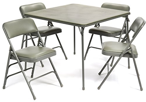 5pc. XL Series Folding Card Table and Triple Braced Vinyl Padded Chair Set, Commercial Quality, Grey (And Table Chair Sets Card)