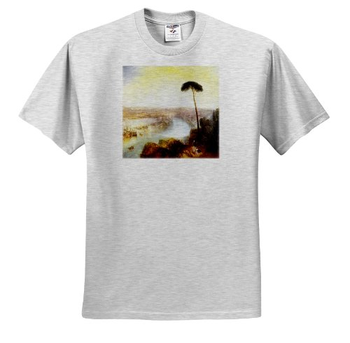 3dRose Florene Famous British Seascape Paintings - British Painter Turners Rome From Mount Aventine Painting - T-Shirts - Adult Birch-Gray-T-Shirt XL (ts_150966_21)