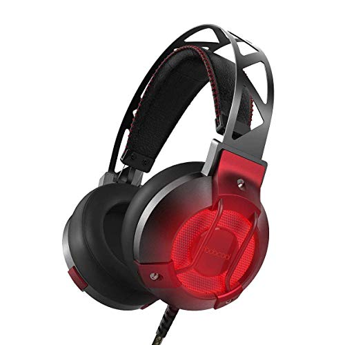 dodocool Stereo Gaming Headset for PS4 PC, USB Interface, Over Ear Headphones with 7.1 Surround Sound and Built-in Mic, LED Lights,Lightweight and Comfortable Headphones, Red