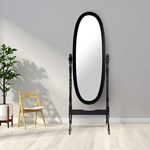 Wooden Oval Mirrors - Giantex Bedroom Wooden Floor Mirror Full Length Cheval, 100% Solid Oak Wood Frame Rustic Rotary Swivel Mirrorred Stand Black Oval Mirrors, Free Standing Home Floor Dressing Mirror (Black)