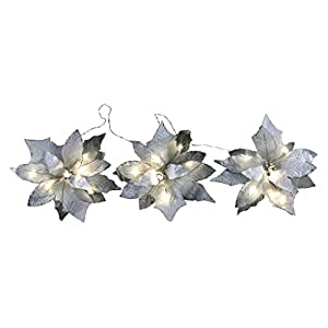 18-Light Battery Operated LED White 3-Poinsettia Flower Garland