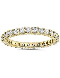 1 1/2ct Prong Diamond Eternity Ring 14K Yellow Gold