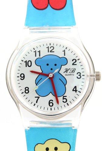 Time Friends Watch Teacher (TimerMall TOUS Bear Kids Cartoon Transparent Strap Analogue Round Dial Time Teacher Quartz Watches)