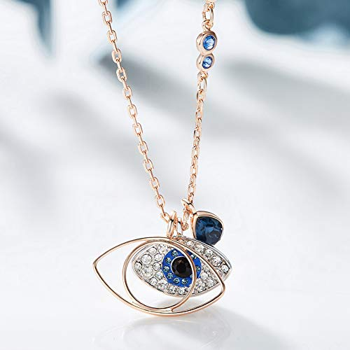 b656e443be552 Natasa Duo Evil Eye Pendant Rose Gold Sterling Silver for Women Girls  Embellished with Crystals from Swarovski