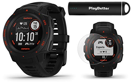 Garmin Instinct Esports (Black Lava) Power Bundle | with PlayBetter HD Screen Protectors & Portable Charger | PC Gaming Stream, Esports Activity Profile | GPS Gaming Smartwatch