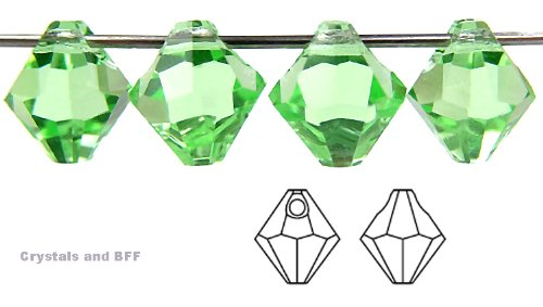 Machine Cut Bicone - 6mm Chrysolite, Czech Machine Cut Top Drilled Bicone Pendant (6301 Shape), 12 pieces