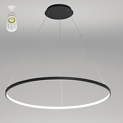 LightInTheBox Dimmable Remote Control Acrylic Chandelier Modern 80cm Cut LED Ring Pendant Light with Oval 1 Ring Max 40W Chrome Finish,Ceiling Light Fixture (Black)