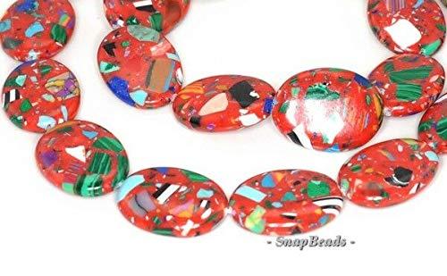- Matrix Turquoise Gemstone RED Mosaic Oval 20X15MM Loose Beads 15.5