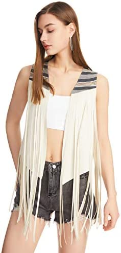 women spring fall casual printed open front fringe tassel faux suede vest sleeveless jacket