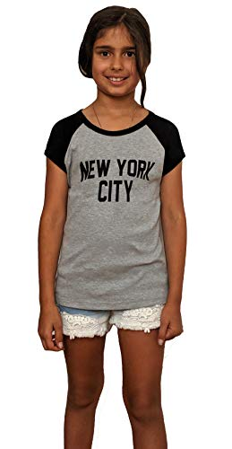 (Made in USA John Lennon Junior T-Shirt Raglan Cap Sleeve New York City (Heather Gray/Black, Small))
