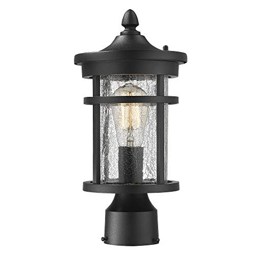 Emliviar 1-Light Outdoor Post Lantern, Exterior Post Light Fixture in Black Finish with Crackle Glass, - Column Light Outdoor