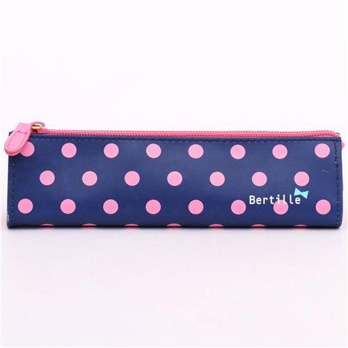 Estuche lápices bolsito azul marino lunares rosas kawaii: Amazon ...