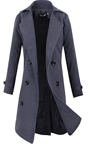 Lende Men's Trench Coat Winter Long Jacket Double Breasted Overcoat Grey ()