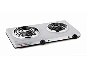 Salton THP-528 Electric Double-Coil Cooking Range, Stainless Steel