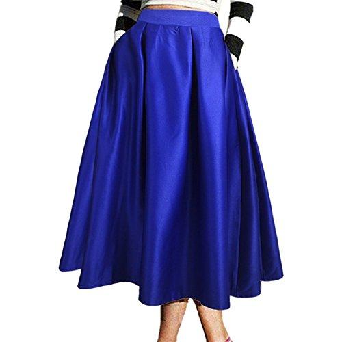 Jupe Genou Poche Haute au Elgante 70CM Femme Satin Jupe CoutureBridal Vintage Haille avec Bleu 6wZtAUqx