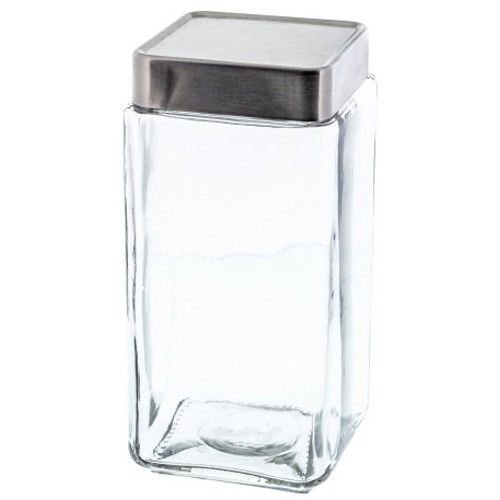 Stackable Square Glass 64 fl oz Jar Canister with Aluminum Lid