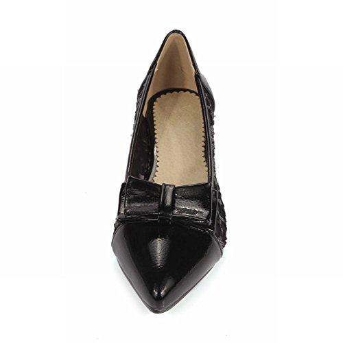 Carolbar Mujer's Pointed Toe Lace Sweet Elegance Charm Bows Lentejuelas Zapatos De Tacón Bajo Negro