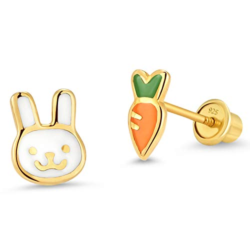 14k Gold Plated Enamel Rabit Carrot Baby Girls Earrings with Sterling Silver Post