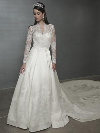 Amazon.com : 2014 A-Line/Princess Long Sleeves Court Train Wedding ...