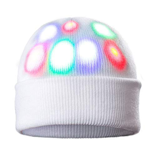 DX DA XIN Light Up Hat, Unisex 7 LED Knitted White Flashing Beanie Hat/Cap Costume for Party Lightshow Jogging Walking Bicycling Gifts Sporting Ball Games