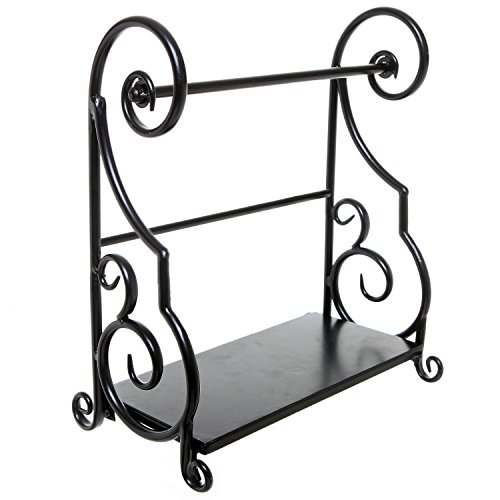 Amazon.com: Decorative Black Metal Scrollwork Design Freestanding Kitchen  Paper Towel Bar Rack With Condiment Shelf: Kitchen U0026 Dining
