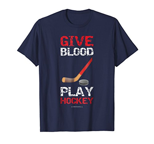 Give Blood Play Hockey T-shirt - Mens Give Blood, Play Hockey Shirt. Funny Hockey T-shirts Small Navy