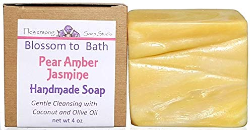Flowersong Handmade Soap, Pear Amber Jasmine Scent