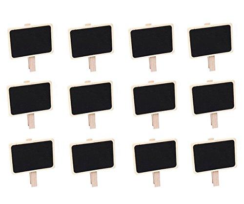 Miraclekoo 12 Mini Retangle Chalkboard Blackboard with Wooden Blackboard Clip Message Board Signs and Labels Clips