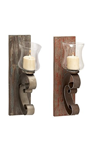 Deco 79 Wood Metal Glass Candle Holder, 2 Assorted, 7 by 20