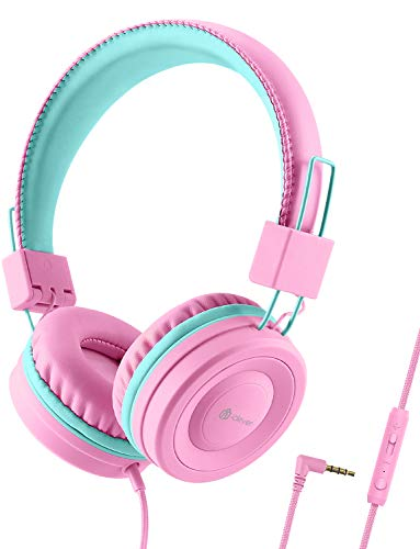 iClever Kids Headphones with Microphone for School – 85dB/94dB Volume Control, Wired Headphones for Kids Girls Boys…