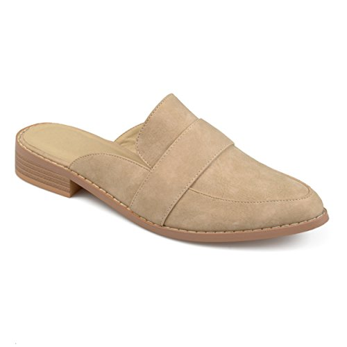 Journee Collection Mujeres Almond Toe Slip-on Mules Taupe