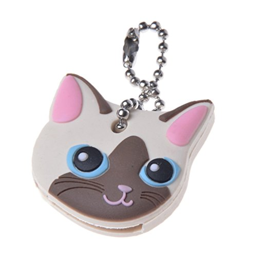 Lychee Cute Dog Cat Puppy Pug PVC Key Cover Cap Key Chain Keyring Rabbit Gift