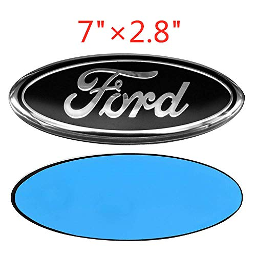 7 Inch Black With Chrome Line Front Grille Tailgate Emblem 3D Oval 3M Double Side Adhesive Tape Sticker Badge for Ford Escape Excursion Expedition Freestyle F-150 F-250 F350
