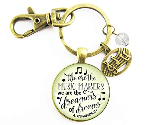 Musician Keychain We Are The Music Makers Musical Jewelry Retro Inspired Bronze Key Ring Notes Charm