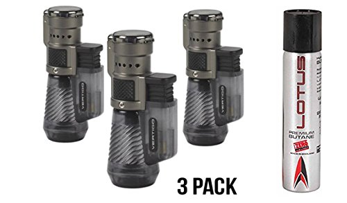 Vertigo by Lotus Cyclone Triple Torch Cigar Lighter Charcoal 3 Pack Plus 1 Lotus 90ml Butane Can