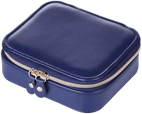 ミニポータブルジュエリー収納ボックス、リングイヤリング、ネックレス、化粧収納ブレスレット、アクセサリー収納バッグボックス,ブルー
