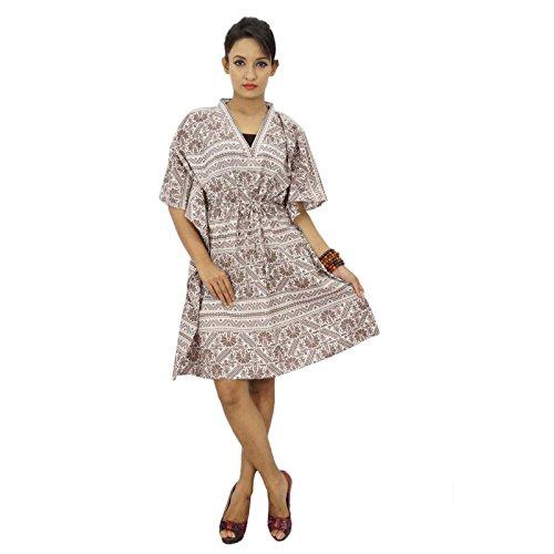 Boho algodón Kaftan hippy más el tamaño de las mujeres African Beach Cover Up Mujeres Caftan marrón