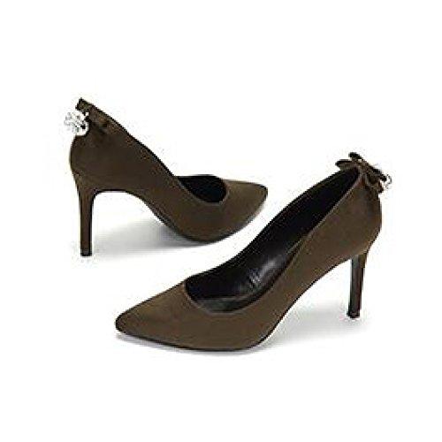 EU UK 5 5cm De Haute Green Noir Party Talons Travail Nightclub Cour 38 WeddingDaphne Bow 9 Chaussures Femme 5 Sexy Mode UaFHxqw