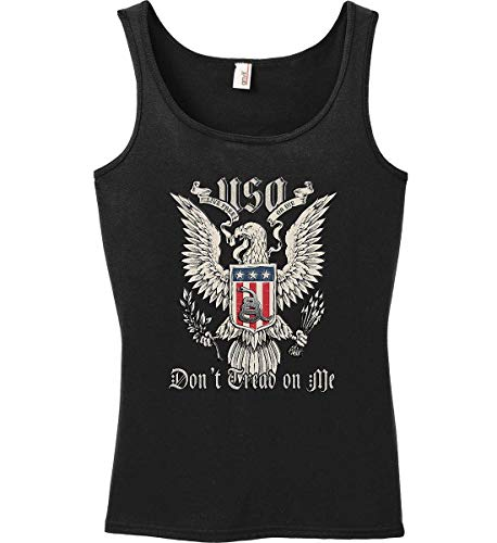 Sons Of Liberty Tank Top: Don't Tread on Me. Eagle with Shield and RATT Women. Black